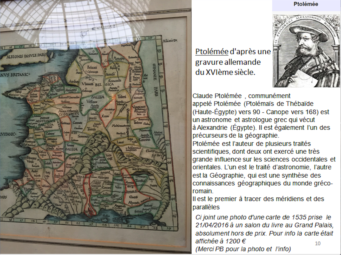 photo de la carte de la Gaule de Ptolémée